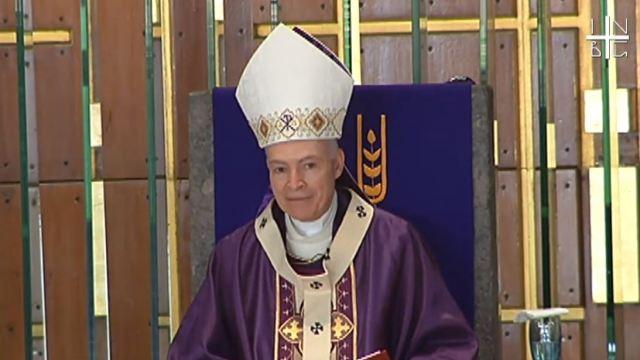 Foto: El Arzobispo Primado de México Carlos Aguiar Retes durante la misa dominical en la Basílica de Guadalupe, el 24 de marzo de 2019 (Basílica Guadalupe YouTube)