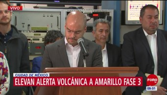 Cenapred eleva alerta volcánica a Amarillo Fase 3