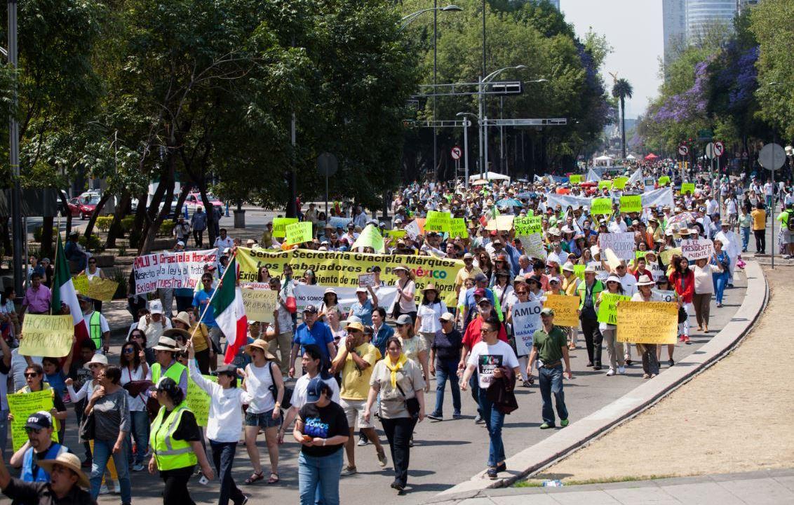 Foto: Los manifestantes caminaron del Ángel de la Independencia al Monumento a la Revolución, el 10 de marzo de 2019 (Cuartoscuro)