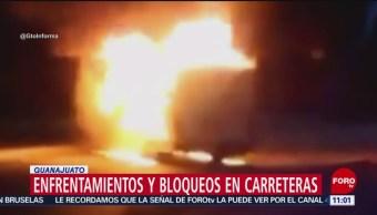 Civiles queman patrullas en Santa Rosa de Lima, Guanajuato