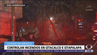 Controlan incendios en alcaldías Iztacalco e Iztapalapa