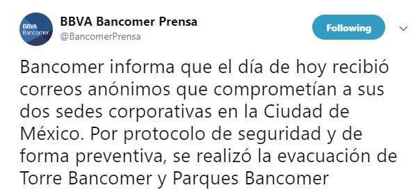 Desalojan edificio por amenaza de artefacto explosivo (Twitter Bancomer Prensa)