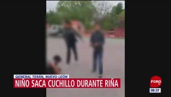 Desarman a niño con puñal durante una riña en Desarman a niño con puñal durante una riña en Nuevo León