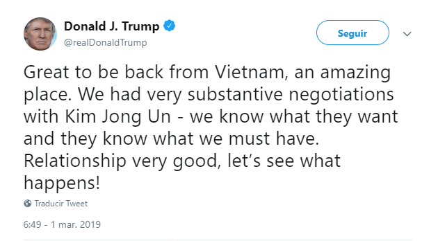 Foto: Donald Trump publica tuit sobre su encuentro con Kim Jong-un, 1 de marzo de 2019, Estados Unidos