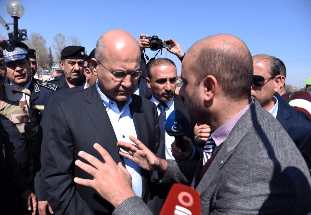 Foto: El presidente iraquí es increpado al visitar zona de naufragio, 22 de marzo de 2019, Irak