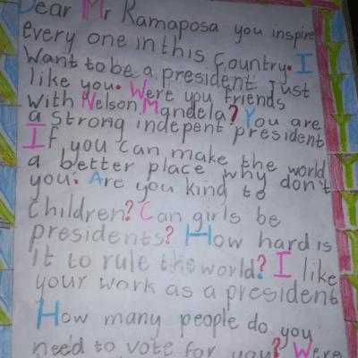 Niña pregunta, en emotiva carta, si puede ser presidenta en Sudáfrica