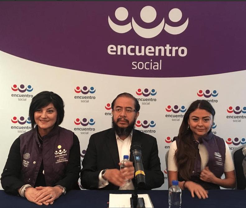 Foto: Hugo Eric Flores durante una conferencia de Encuentro Social, 14 de marzo de 2019.