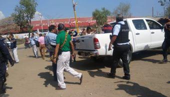 Foto: Enfrentamiento entre transportistas de Oaxaca. 5 de marzo 2019. Twitter @realidadoaxaca