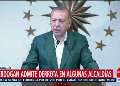 Erdogan admite derrota en algunas alcaldías en Turquía