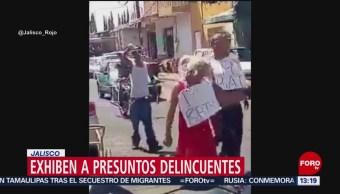 FOTO: Exhiben a presuntos delincuentes en Jalisco, 16 marzo 2019
