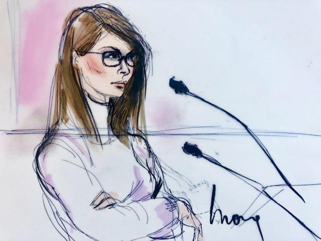 Foto: Boceto de la actriz Lori Loughlin durante su audiencia en una corte de Los Angeles, EEUU, el 13 de marzo del 2019