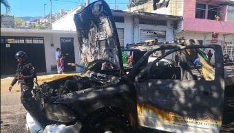 Foto: Hombres armados incendian dos grúas en Acapulco, 11 de marzo 2019. (Twitter @AcapulcoCity)