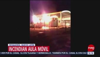 Incendian aula móvil de una escuela en Pesquería, Nuevo León