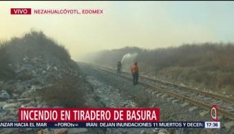 FOTO:Incendio en tiradero de basura, en Nezahualcóyotl, 25 marzo 2019