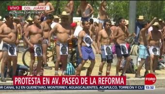 Foto: Integrantes de los 400 Pueblos protestan en Paseo de la Reforma