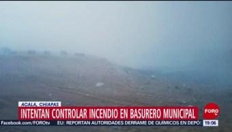 FOTO:Intentan controlar incendio en basurero de Acala, Chiapas, 23 Marzo 2019