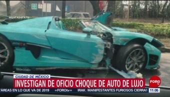 Investigan de oficio choque de auto de lujo en la Ciudad de México