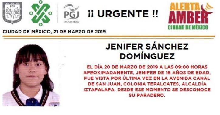 Foto: Activan Alerta Amber para localizar a Jenifer Sánchez Domínguez en CDMX, 21 marzo 2019