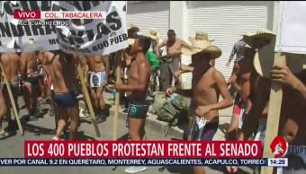 Foto: Manifestación de los 400 pueblos frente al Senado
