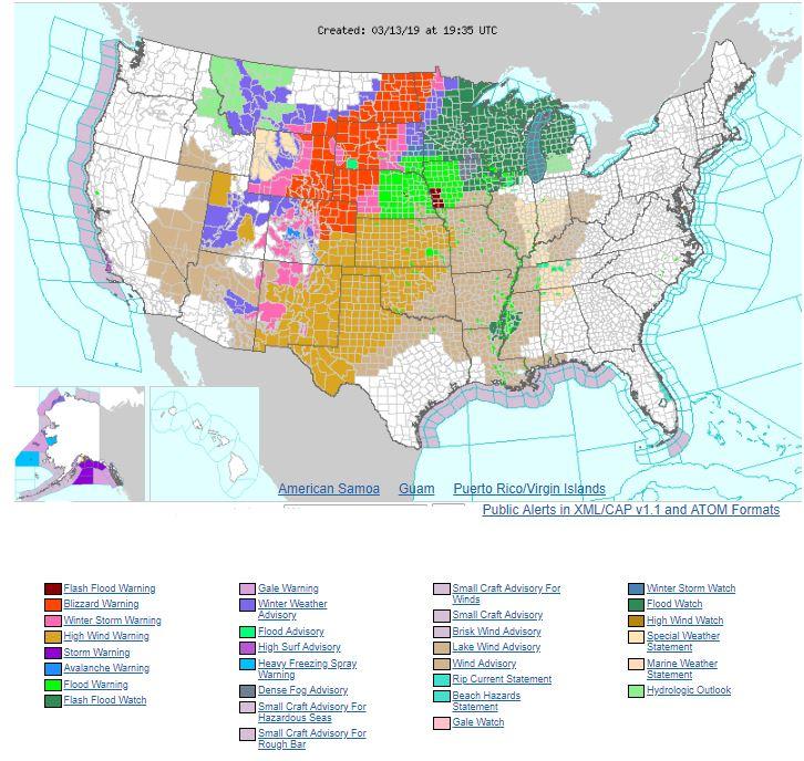 Mapa con las distintas alertas climáticas para los distritos de Estados Unidos (Weather.gov)