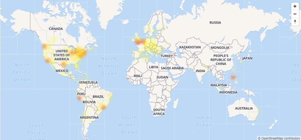 Mapa de las zonas en donde más se presentan errores en Facebook (OutageReport)