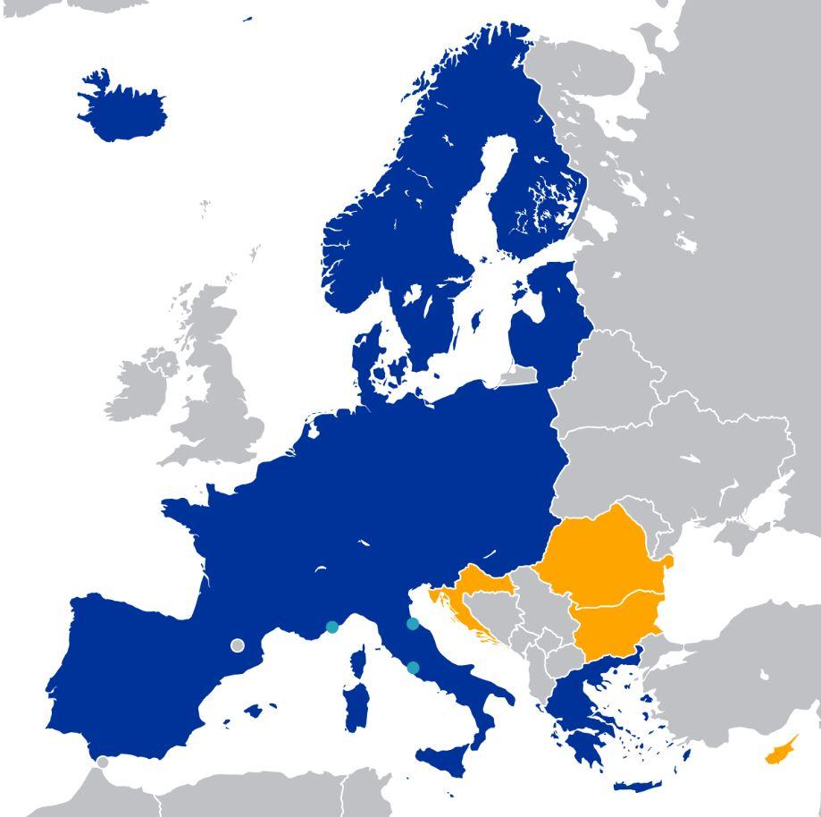 Mapa del espacio Schengen de la Unión Europea, que incluye a 26 naciones que no poseen fronteras interiores (Wikimedia Commons - Compartido con licencia Creative Commons Attribution-Share Alike 4.0)