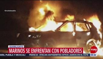Marinos se enfrentan con civiles en Guanajuato