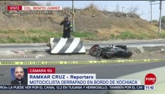 FOTO: Motociclista derrapa en bordo de Xochiaca, 18 marzo 2019