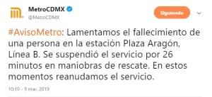 Foto: Una persona murió en la estación Plaza Aragón, al caer a las vías del Metro, marzo 9 de 2019 (Twitter: @MetroCDMX)