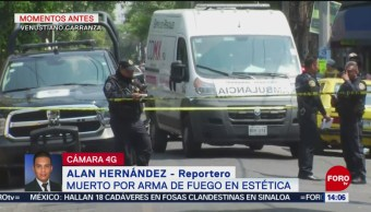 FOTO: Muerto por arma de fuego en estética en Venustiano Carranza, 10 marzo 2019