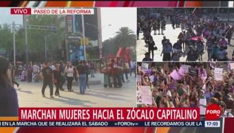 FOTO: Mujeres marchan rumbo al Zócalo; cierran Reforma, 8 MARZO 2019