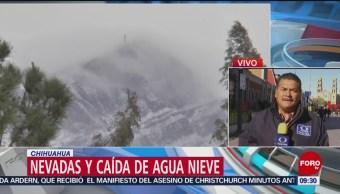 FOTO: Nevadas y caída de agua nieve afectan Chihuahua, 17 marzo 2019