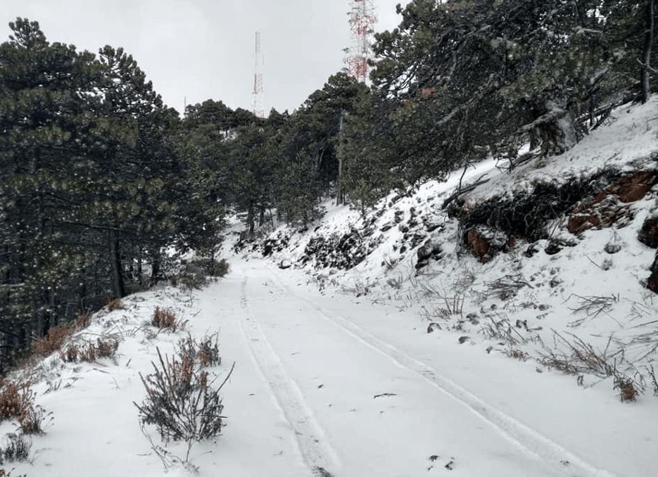 FOTO Nieve cubre el Cerro del Potosí, en Nuevo León, a días de que inicie la primavera (Protección Civil NL 18 marzo 2019)