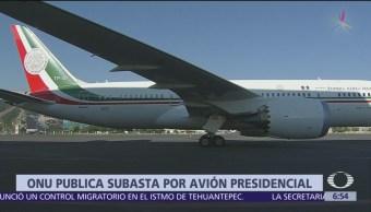 ONU pública subasta por avión presidencial