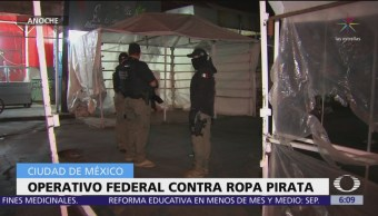 Operativo federal contra ropa pirata en la CDMX