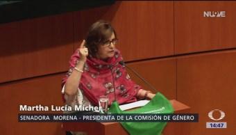 FOTO: 'Pañuelo verde' enciende debate sobre aborto en Senado, 8 MARZO 2019