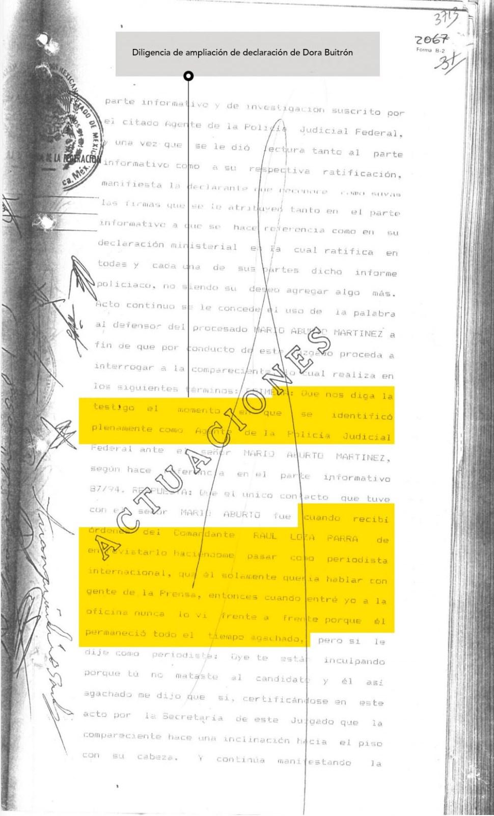 Parte del testimonio de la policía federal Dora Buitrón, quien recibió órdenes de hacerse pasar por periodista para obtener información (MCCI)