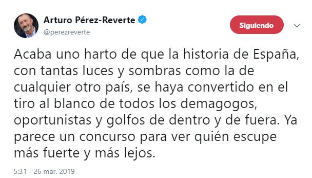 IMAGEN Pérez-Reverte llama imbécil a AMLO por pedir a España disculpa de la Conquista (AP 26 noviembre 2016)