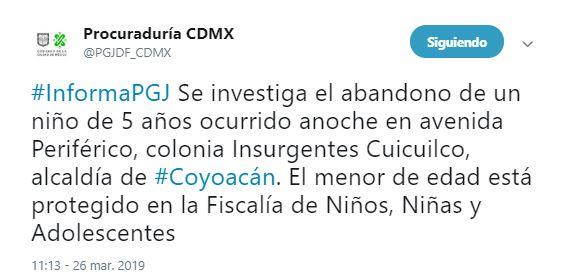 Foto: PGJCDMX investiga abandono de menor en Periférico 27 marzo 2019