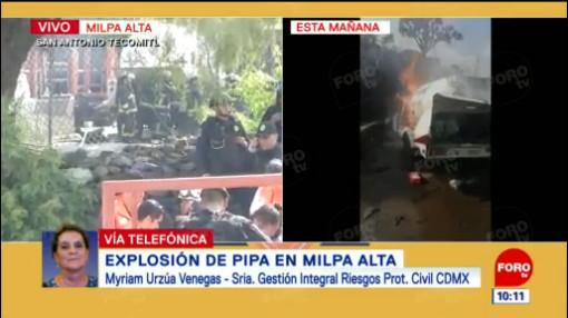 Pipa de gas explotó en predio particular en Milpa Alta