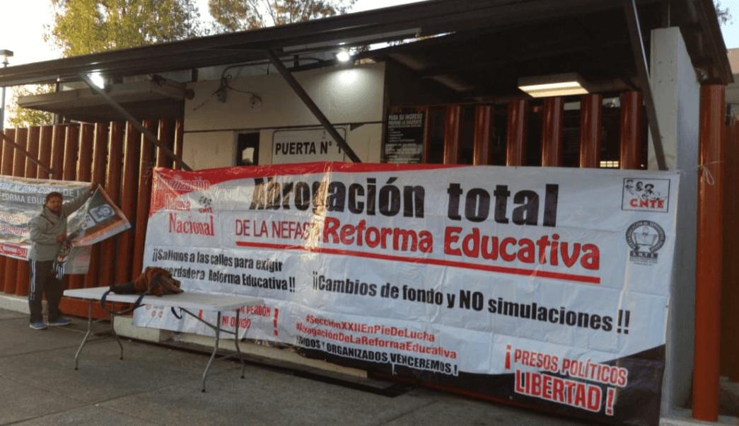 FOTO CNTE planea levantar su plantón en San Lázaro este jueves (Twitter Laura Arana 20 marzo 2019 cdmx)