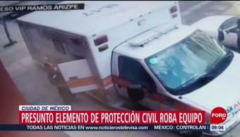 FOTO:Presunto elemento de Protección Civil es captado robando en CDMX, 24 Marzo 2019