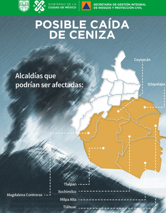 IMAGEN Prevén caída de ceniza del Popocatépetl en siete alcaldías de la CDMX @SGIRPC_CDMX 6 marzo 2019