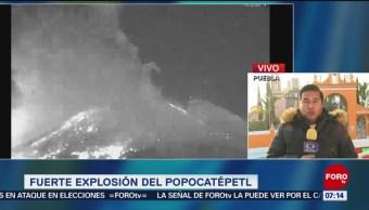 Santiago Xalitzintla amanece en calma tras explosión del Popocatépetl