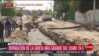 Reparación de grieta más grande del sismo 19-S en Iztapalapa