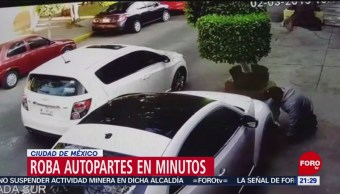 FOTO: Roban autopartes a vehículo en minutos en CDMX, 2 marzo 2019