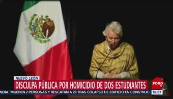 Foto: Olga Sánchez Cordero ofreció una disculpa pública por el homicidio de dos estudiantes del Tecnológico de Monterrey hace 9 años por elementos del Ejército