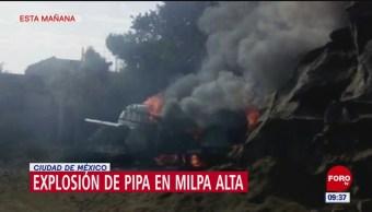 Se registra explosión de pipa de gas en Milpa Alta, CDMX