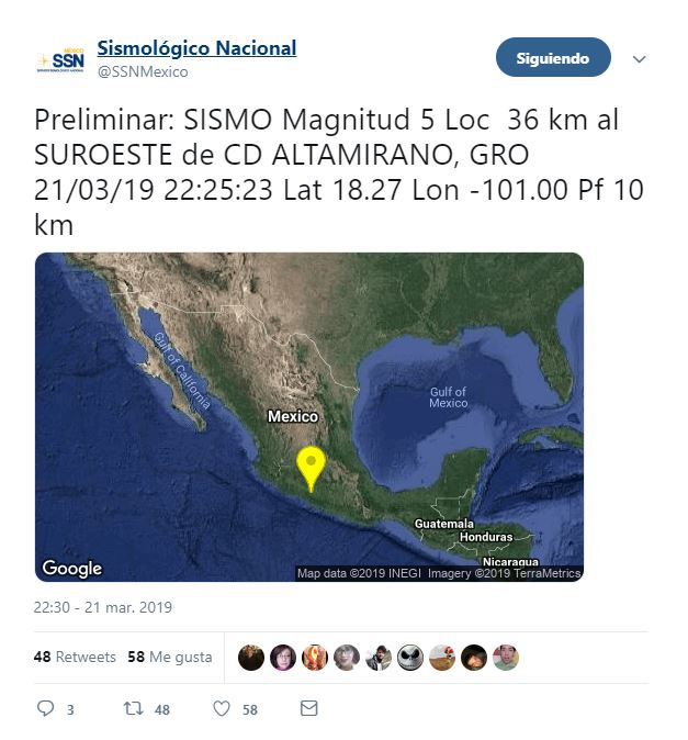se registra sismo de magnitud 5.0 con epicentro en guerrero