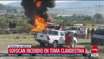Foto: Sofocan incendio en toma clandestina en el Estado de México